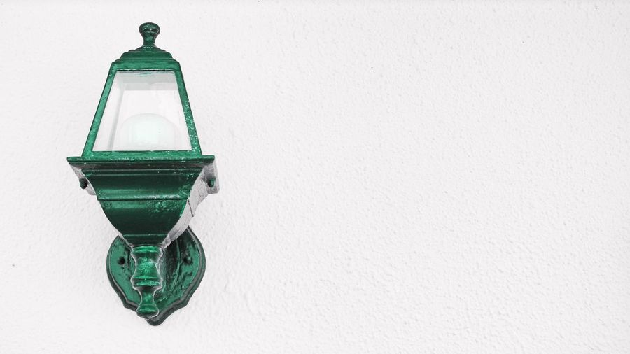 The lamp on the wall Close-up Color Splash Day Edited My Way Fresh On Eyeem  Green Color Lamp No People Outdoors Sky The Lamp White Background