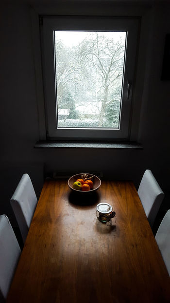 Cosy At Home Cosy Place Home Interior Out Of The Window Snowing Snowtime Table Tablecloth Window Winter Snow Winter Wonderland