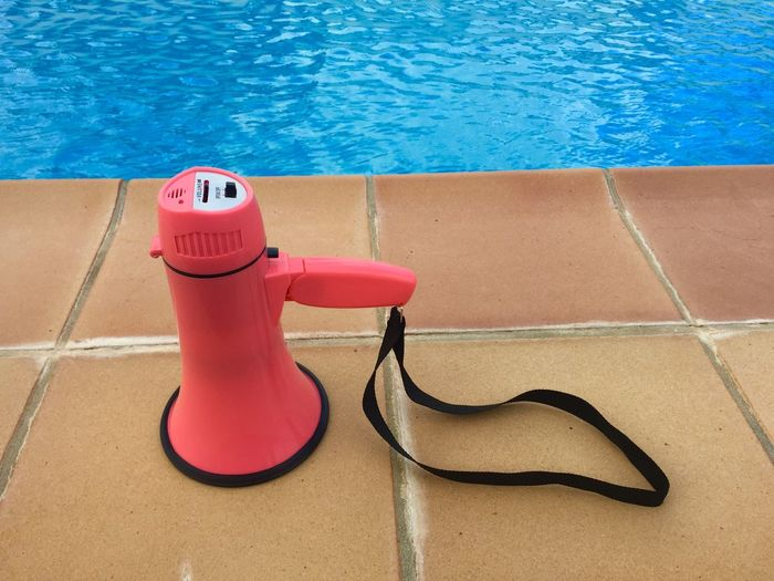 Megaphone at poolside