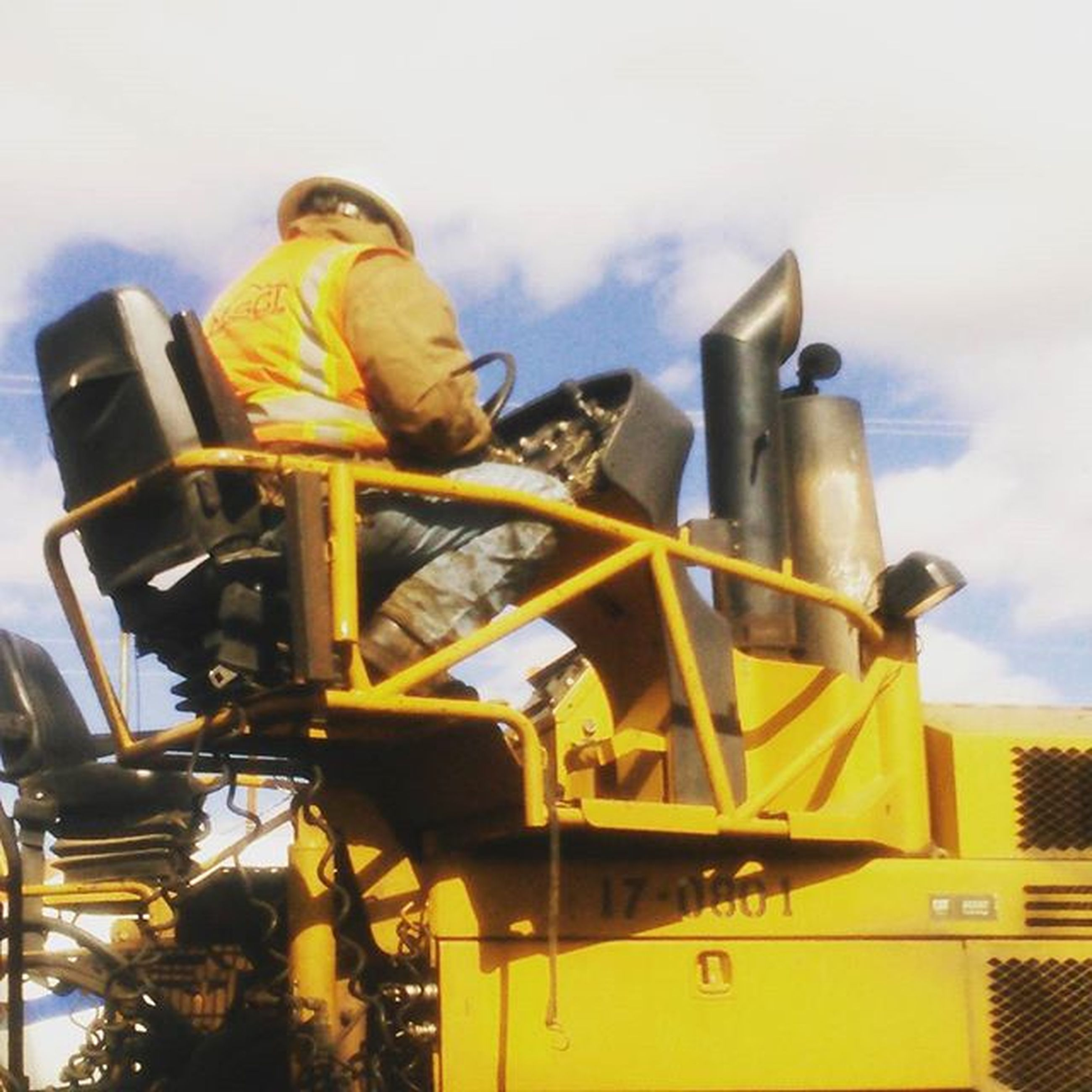 yellow, low angle view, sky, no people, outdoors, city, day, cloud - sky, machinery, cloud, close-up, high section