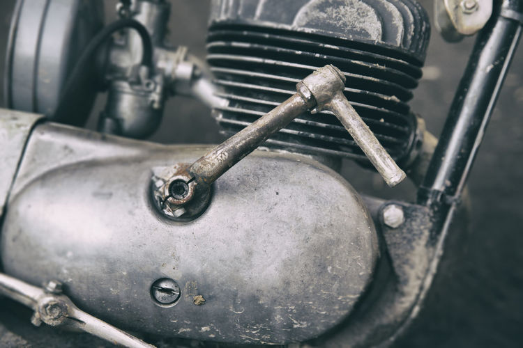 Close-up of old motorcycle engine