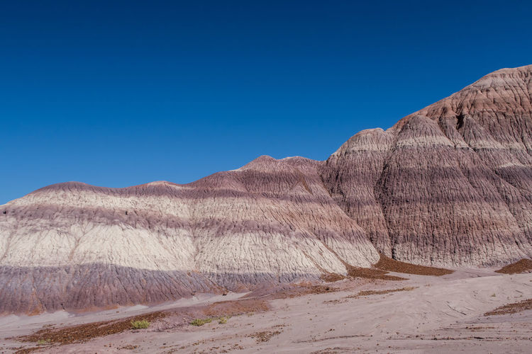 Landscape of badlands or hills at blue mesa in petrified forest national park in arizona