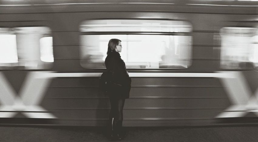 Transportation Train - Vehicle Lifestyles Blurred Motion Railroad Station Railroad Station Platform Casual Clothing Mode Of Transport Standing Public Transportation Motion Person Subway Train Full Length Like4follow Like4like Pastel Indoors  Travel Lonelyday Lonely Girl Lonely Road Foreveralone♡ Alone Nolovelost