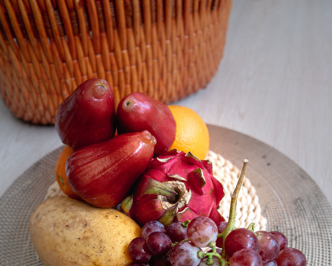 Close-up of apples in basket on table