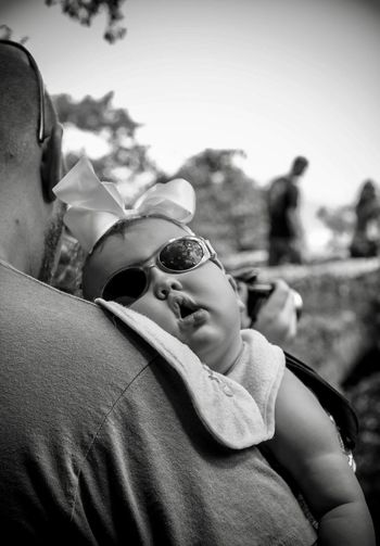 Sunglasses Focus On Foreground Lifestyles Real People Togetherness Childhood Men Child Close-up Headshot Leisure Activity Outdoors People Father Fatherhood  Baby Monochrome Black And White