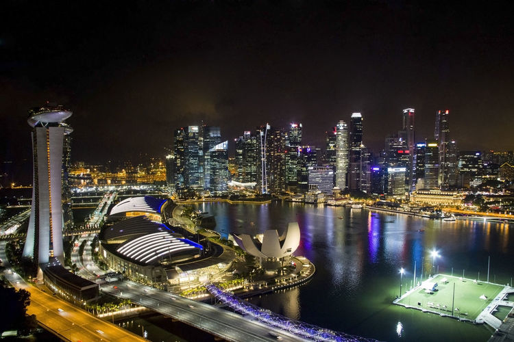 View of the night Marina Bay, Singapore City Cityscape Modern Modern Architecture Singapore Singapore View Skyscrapers Traveling Architecture Built Structure Cityscapes Famous Place High Angle View Illuminated Marina Bay Night Outdoors Singapore City Skyscraper Tourist Destination Touristic Destination Travel Destination Travel Destinations Urban Skyline Water An Eye For Travel