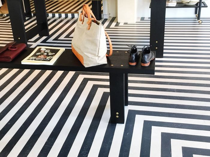 EyeEm Selects Striped Low Section Day Indoors  Retail  Low View Floor Display Stripes Pattern Stripes Straight Lines Black White Pattern Cabana Striped