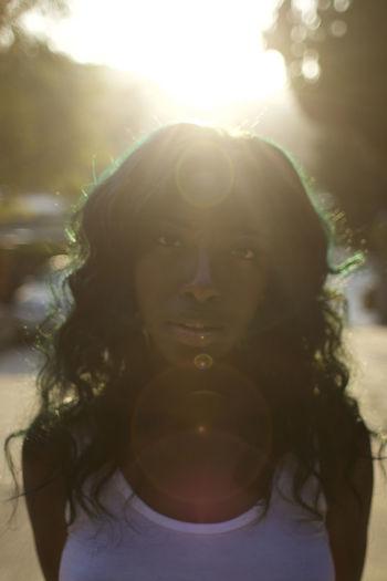 Portrait of woman in sunlight