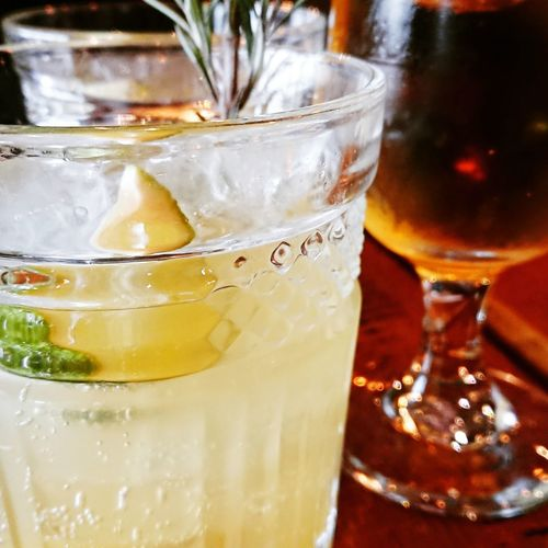 Cold Temperature Alcohol Drink Drinking Glass Ice Cube Cola Cocktail Table Lemon Soda Mojito Vodka Tropical Drink