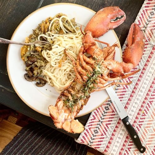 Lobster Lunch Lobster Indoors  High Angle View Food Food And Drink Table Close-up Still Life One Person Real People Wellbeing Healthy Eating Plate Freshness Directly Above