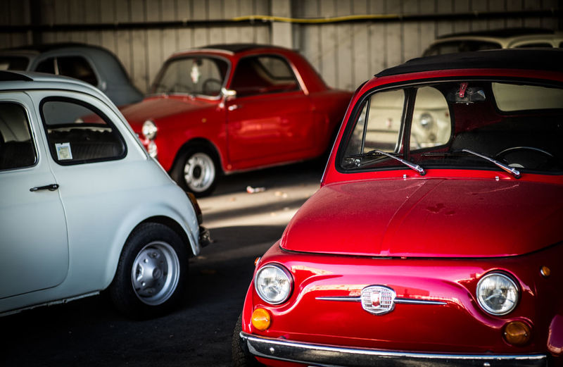 Fiat500 Fiat Motor Vehicle Car Mode Of Transportation Red No People Retro Styled Focus On Foreground Automobile Industry Vintage Car Stationary The Week on EyeEm Car Lover Cult Car When I Was Young