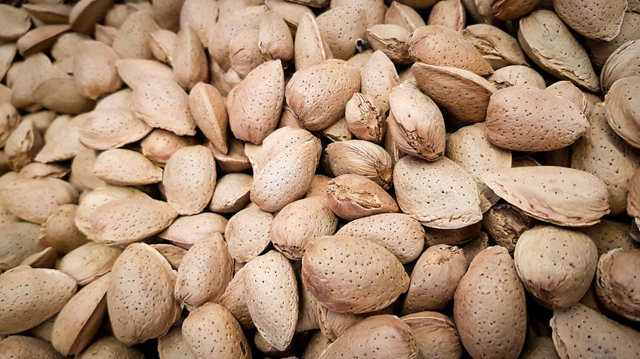 Closeup shot of raw almonds in the shell
