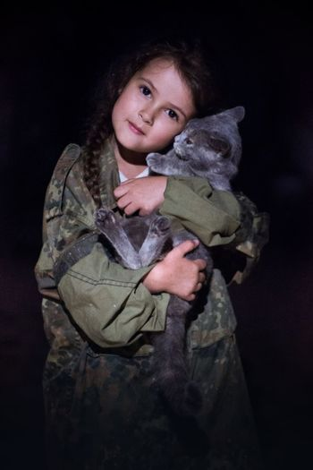 Love Embracing Stuffed Toy One Person Looking At Camera Child Teddy Bear Portrait Childhood Adult People Black Background One Girl Only Cute Studio Shot Army Soldier Army Indoors  Honesty Children Only