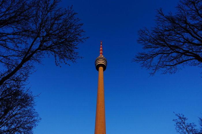 Nice evening. Tower Low Angle View Tall - High Blue City Architecture Travel Destinations Tourism Sky Monument Outdoors No People Night Stuttgart TV Tower Sky And Clouds Taking Photos Cloud - Sky City Beliebte Fotos Architecture Building Exterior The City Light Eyeem0711 Sky_collection