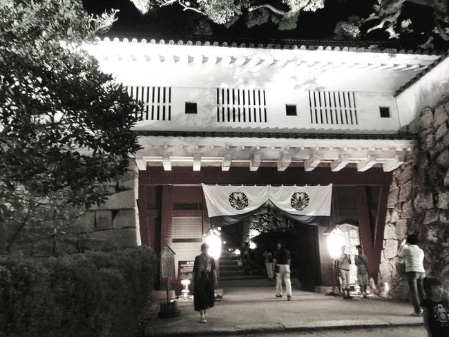 Hi! Hello World Taking Photos Outdoors Night Night Lights Check This Out Castle Castle Gate Enjoying Life Cityscape People Architecture City Life Landscape TOWNSCAPE Photography Garden Japan Photography 岡山城 Okayama Japan