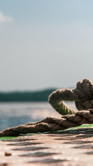 Close-up of rope on pier over sea against sky