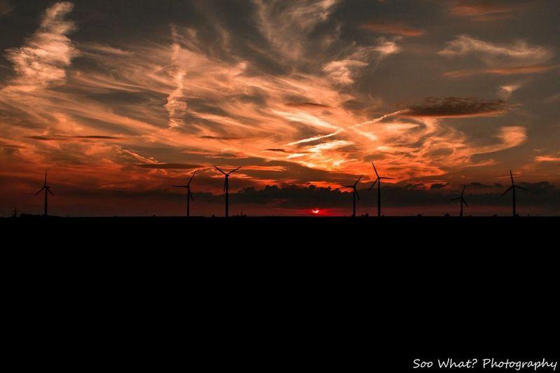 Salzgitter Germany my Hometown... Sunset Silhouette Sky Nature No People Scenics Outdoors Illuminated Beauty In Nature Alternative Energy EyeEmNewHere EyeEm Nature Lover EyeEm Best Shots Salzgitter Windkraft Energy