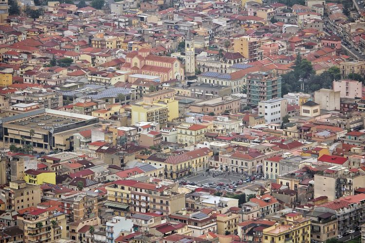 View of the center of palmi from monte sant elia, calabria, italy