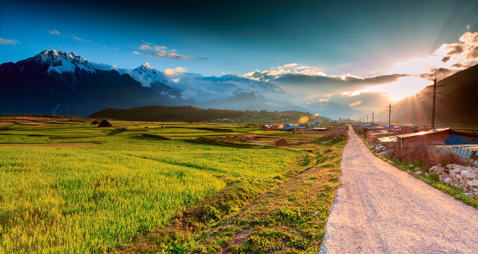 Village road under sunset at Tibet, China. Agriculture Backgrounds Cloud Country Dramatic Field Grass Hill Horizon Journey Landscape Mountain Nature No People Outdoors Path Peak Road Scenery Sky Sunlight Sunset Travel Trip Way