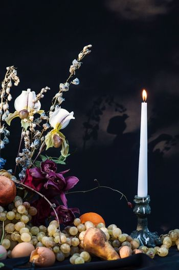 Burning Food And Drink Food Candle Flame Healthy Eating Fire Fruit Freshness Wellbeing Fire - Natural Phenomenon Illuminated No People Plant Celebration Table Close-up Berry Fruit Flower Nature