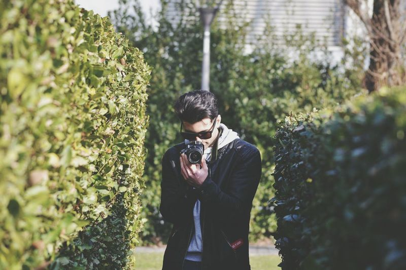 Man photographing amidst plants at park