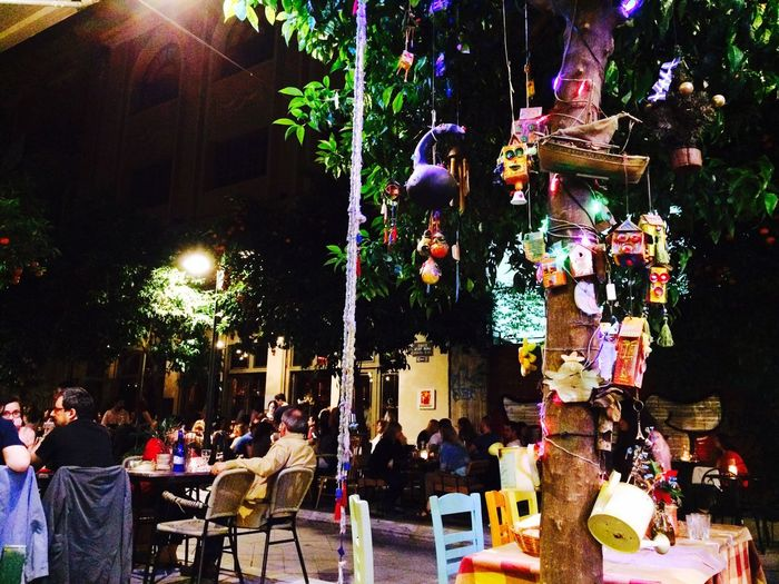 Thessaloniki Greece Hanging Out Great Atmosphere Tree Decoration Loveit Nightout People Cities At Night