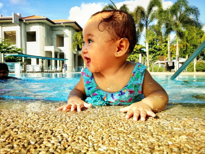 Baby Toddler  Fun Happiness Childhood Outdoors Swimming Pool Children Only One Person Real People Child Water People