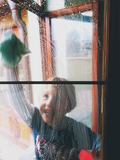 Cleaning Time Cleaning Windows Childhood Happiness Household Springtime Portrait Children's Portraits Boy Preschool Age Helping Looking Through Window Close-up