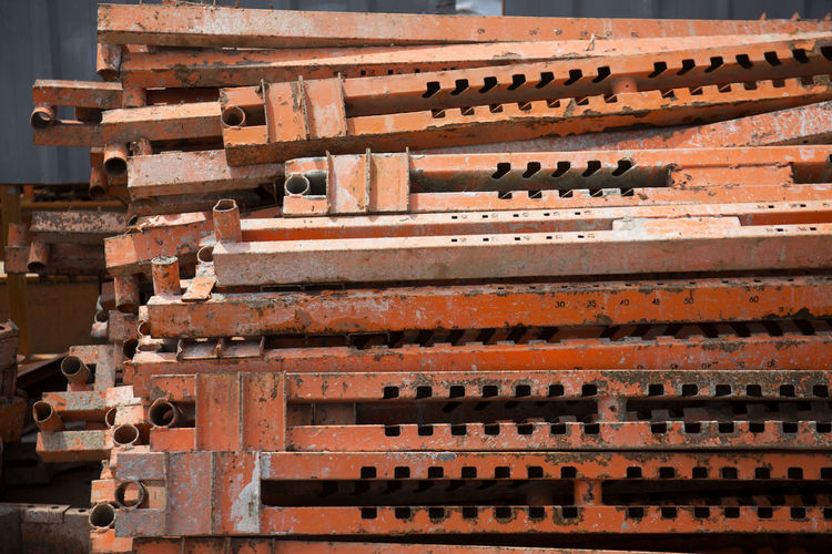 Construction Material Steel Construction Close-up Architecture No People Built Structure Outdoors Brown Old Stack History Ruined Industry Pattern Day Architecture Material Raw Food Photography Color Image Manufactured