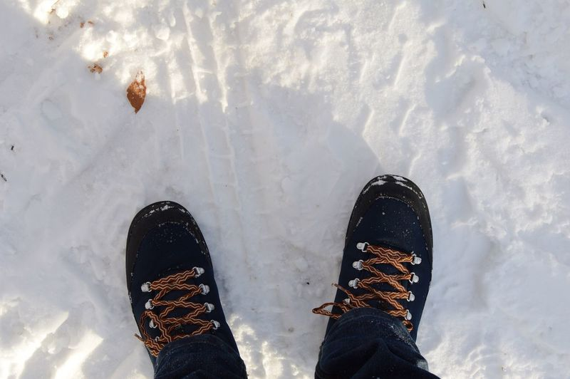 A walk through the woods. Low Section Shoe Human Leg Personal Perspective Standing Human Body Part Real People Winter Snow Lifestyles One Person Men Outdoors Day Canvas Shoe Close-up Nature Traveling Snow Sports