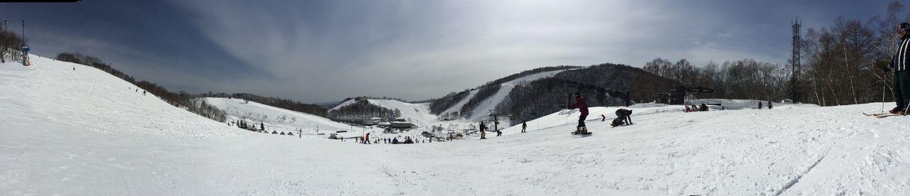 Panoramic view of ski slope