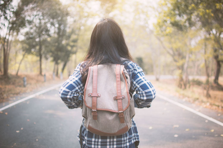 Holiday Nature Road Travel Woman Backpack Hipster Relaxation