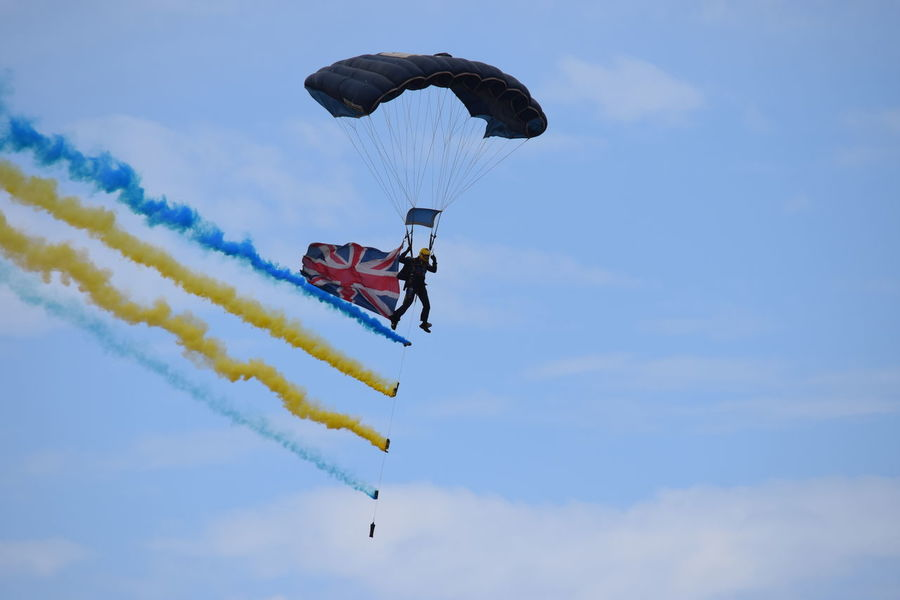 Mid-air Extreme Sports Flying Adventure Sky Blue Stunt Paragliding Southport Airshow Southport Airshow 2016 Smoke Union Jack