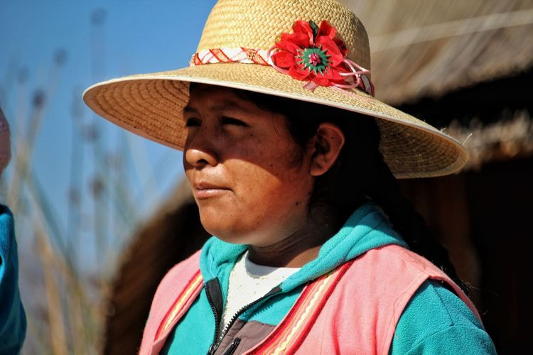 Uros woman Portrait Farmer Headshot Rural Scene Human Face Hat Close-up