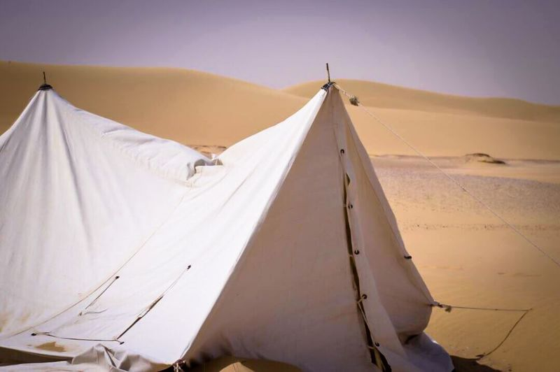Tent Desert No People Outdoors White Color Sand Landscape Nature Sand Dune Trip Nikon Non-urban Scene Day Travel Camping Focus On Foreground Scenics Tranquil Scene The Great Outdoors - 2017 EyeEm Awards