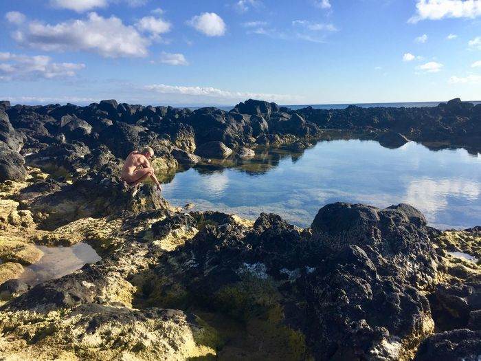 Mass Effect Nakedhuman Low Tide Graciosa Azores Portugal Portugal Azores Atlantic Island Lava Vulcanic Sky Water Cloud - Sky Nature Beauty In Nature Sea Day Reflection Tranquility Outdoors No People Solid Rock Scenics - Nature Sunlight