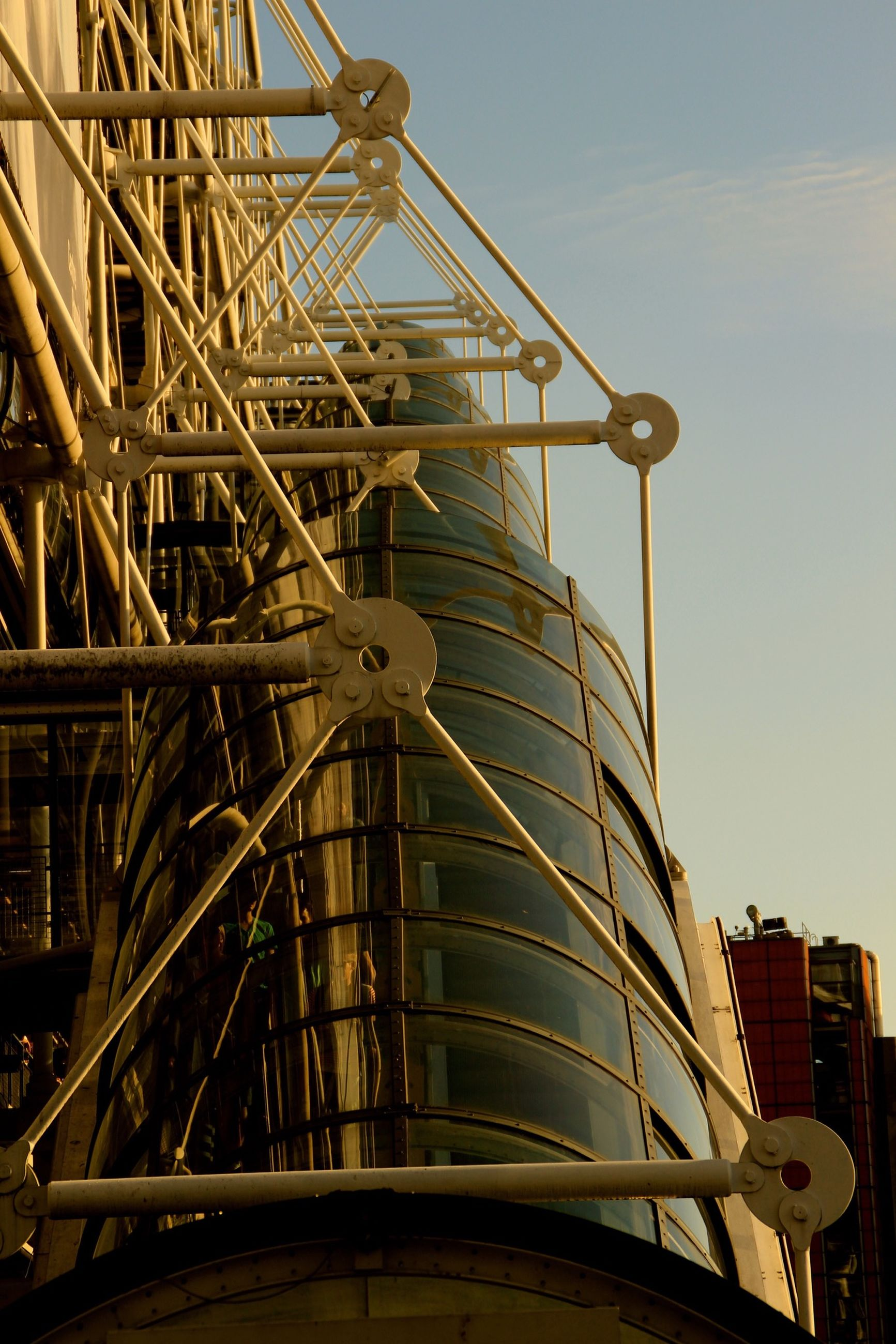 low angle view, built structure, architecture, metal, metallic, tall - high, tower, sky, building exterior, engineering, construction site, development, industry, no people, travel destinations, construction, international landmark, outdoors, clear sky, day