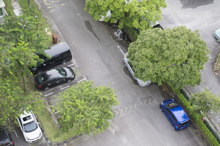 High angle view of vehicles on road
