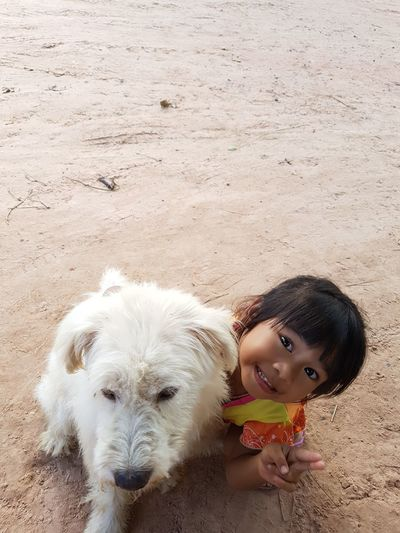 Dog Dogs Thailand Animal EyeEm Selects Pets Child Portrait Friendship Childhood Smiling Looking At Camera Sand Dog Girls EyeEmNewHere