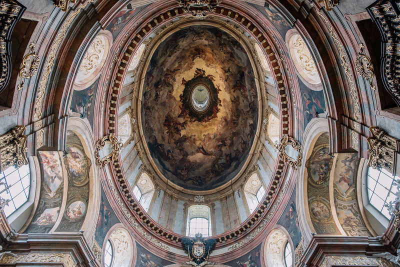 Detail of the dome's frescoes Catholic Austria Travel Vienna Architecture Architecture And Art Art And Craft Baroque Style Belief Building Built Structure Ceiling Culture Human Representation Mural Peterskirche Place Of Worship Religion Spirituality