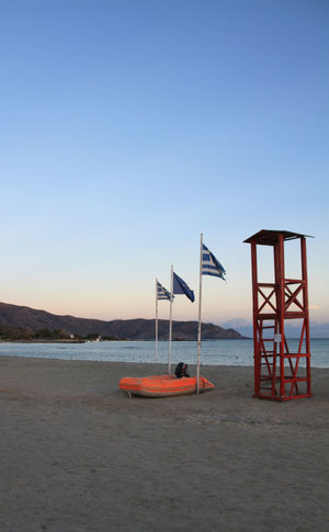 The lifeguard has gone home. Baywatch Beach Clear Sky Flag Lifeguard  Lifeguard Hut Lifesaver No People Outdoors Sand Sea Sunset Tranquil Scene Water