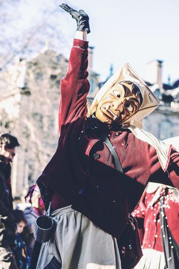 Taaadaaaa! Costume Celebration Real People Outdoors Mask - Disguise Period Costume City Nice Day Smiling Arts Culture And Entertainment Happy Enjoyment Masked Happiness Carnival Event Carnival Crowds And Details Strasbourg♥ Streetphotography Celebration Walking Confetti Party People Togetherness