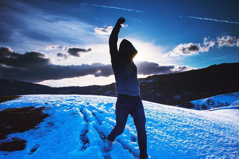 Blue Silhouette Sky Outdoors One Person Low Angle View Water Real People Day Adult People Nature This Is Masculinity Go Higher Go Higher Focus On The Story