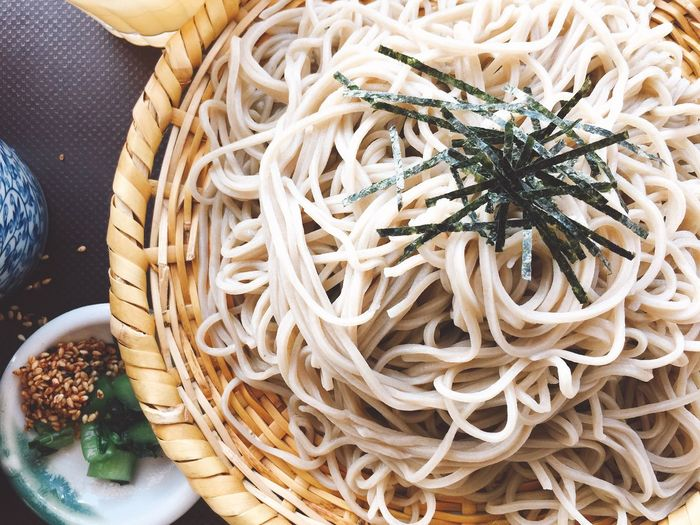 Finding New Frontiers Food Pasta Food And Drink Spaghetti Freshness Ready-to-eat Plate Noodles Serving Size Healthy Eating Italian Food No People Close-up Temptation Indoors  Chinese Takeout Soba Noodles 蕎麦 Japanese Food Zaru Soba ざる蕎麦 Japanese Culture Classic Style Traveling Home For The Holidays