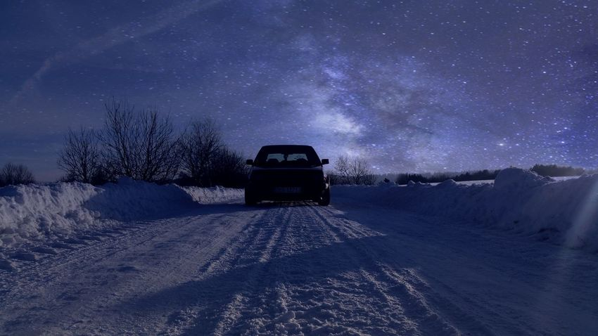 Nature Star - Space Landscape Winter Night Scenics Snow Astronomy Beauty In Nature Transportation Tree Galaxy Sky Cold Temperature Dark Bieszczady Bieszczadymountains Gory Stairs Golfmk2 Vw Golf Golf2 Poland, Nature PhotographyLand Vehicle