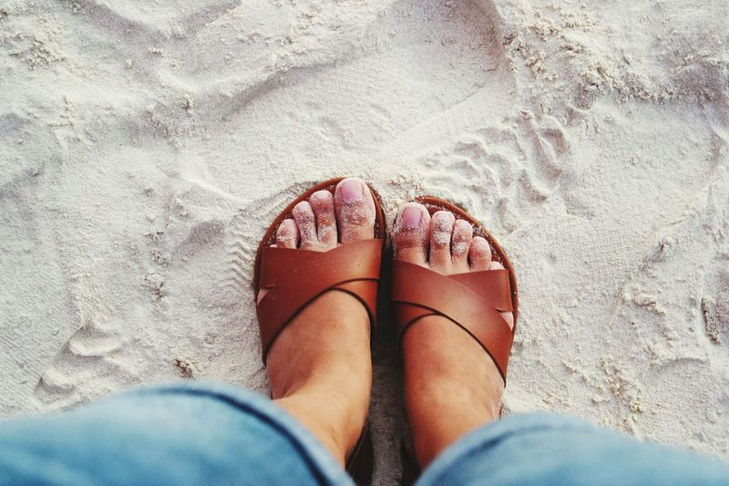 touch the sand Vacation Time Vacation Sand Beach Footwear Sandal Flat Shoe Human Feet Pair Slipper  Rolled Up Pants Human Foot