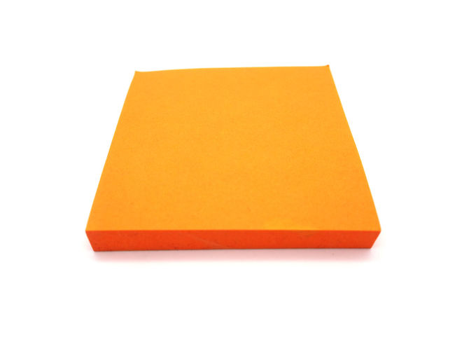 Orange paper stick note on a white background. Blank Business Communication Copy Space Cut Out Document Indoors  Letter Message No People Note Pad Office Office Supply Paper Reminder Shape Simplicity Single Object Studio Shot White Background