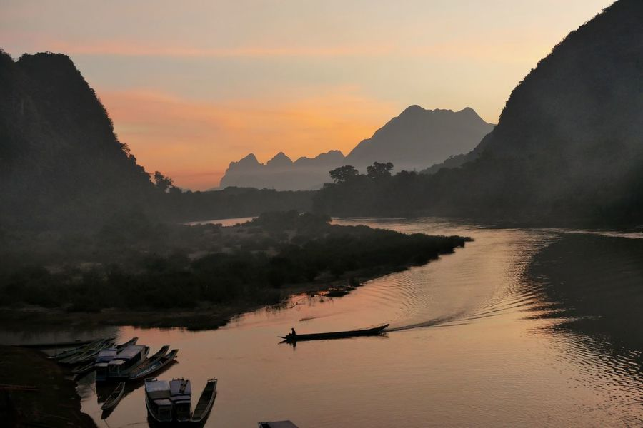 Muang Ngoy Laos Nam Ou River Sunset Mountain Landscape Mountain Range Outdoors Nature Boat Arriving Transportation Beauty In Nature Scenics Water Sky Arrival Nautical Vessel Travel Landscapes Traveling The Great Outdoors - 2017 EyeEm Awards Lost In The Landscape Summer Exploratorium The Traveler - 2018 EyeEm Awards The Great Outdoors - 2018 EyeEm Awards