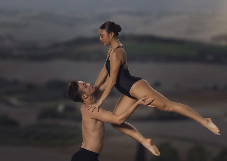 Ballet dancer dancing outdoors