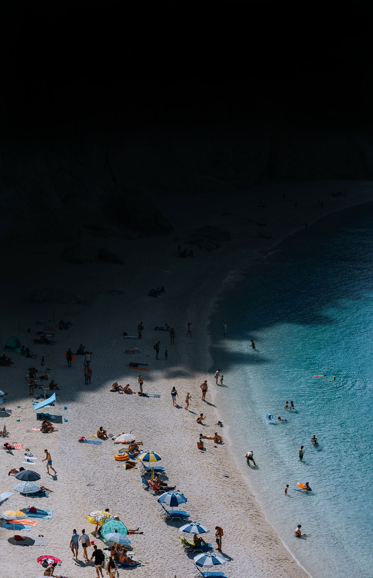 Aerial view of people at beach